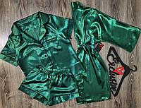 Модный комплект домашней одежды халат+пижама( рубашка и шорты)