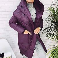 Женское теплое пальто с капюшоном  ГН642