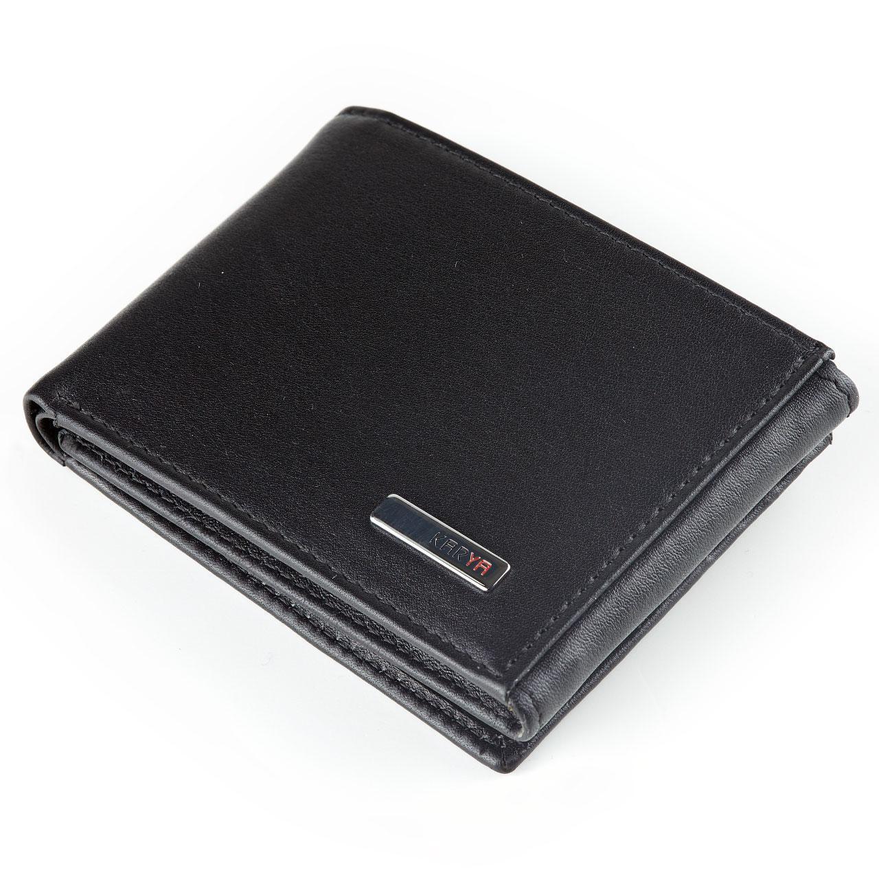 Кошелек зажим для денег Karya 0931-1 кожаный черный