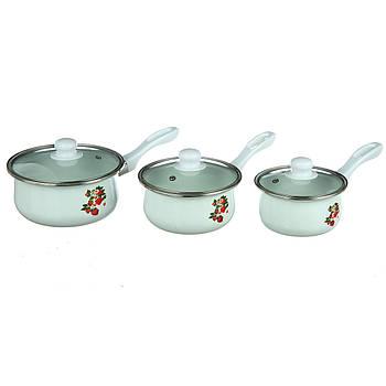 Ковши кухонные A-PLUS набор 3 шт (0966) Эмалированные