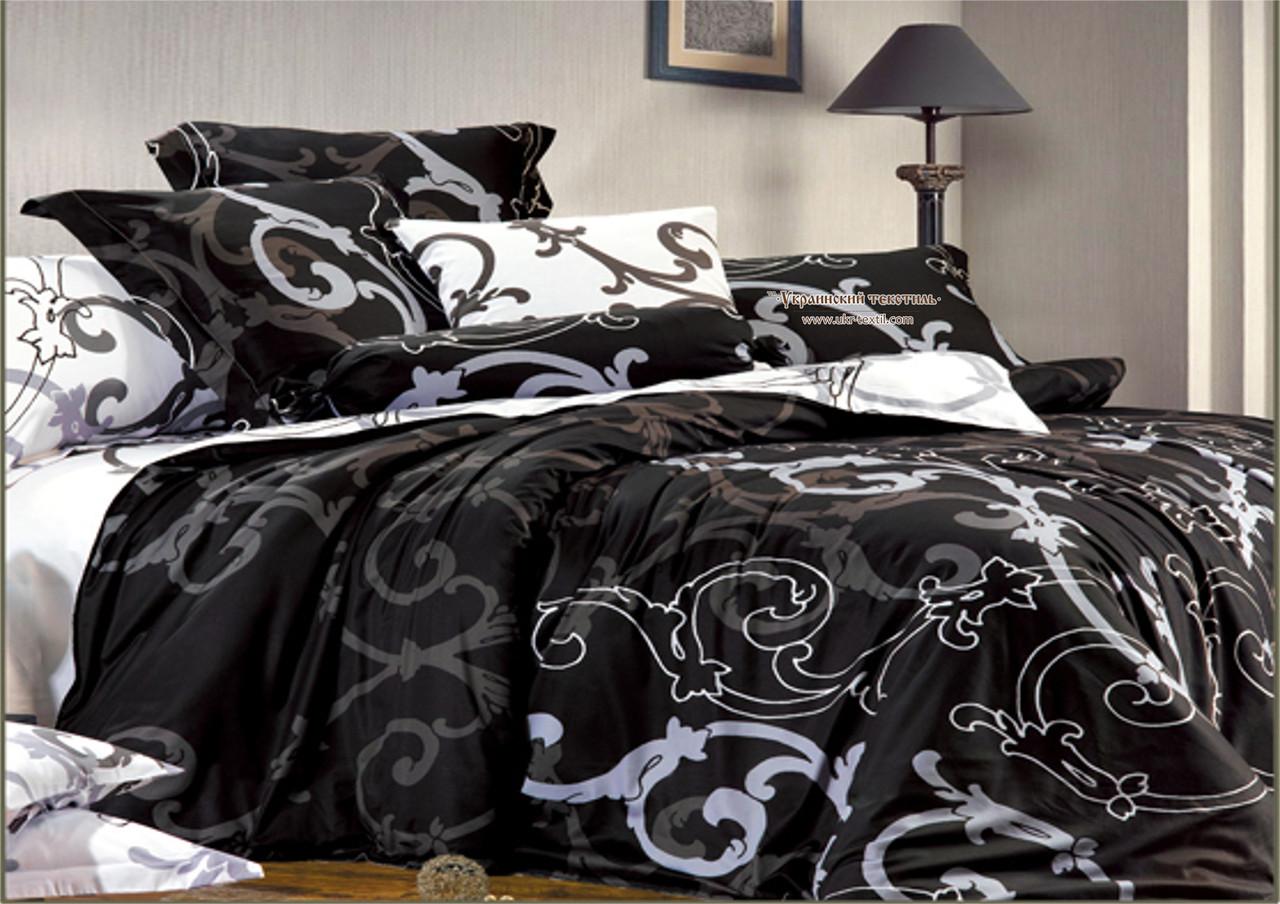 Комплект постельного белья  Вензеля черные