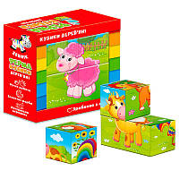 Детские деревянные кубики «Ферма» (укр) Vladi Toys (Влади Тойс)
