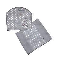 Комплект зимовий шапка і шарф снуд для дівчаток з малюнком сірий