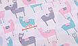 Сатин (хлопковая ткань) акварельные ламы, фото 2