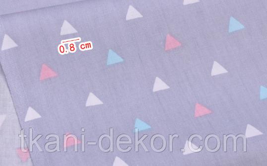 Сатин (хлопковая ткань) треугольник на сиреневом (компаньон к ламам)