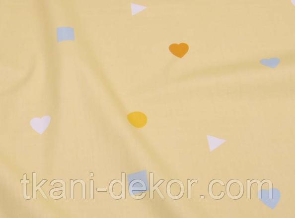 Сатин (бавовняна тканина) квадрати і серця (компаньйон до динозаврів намальованим)