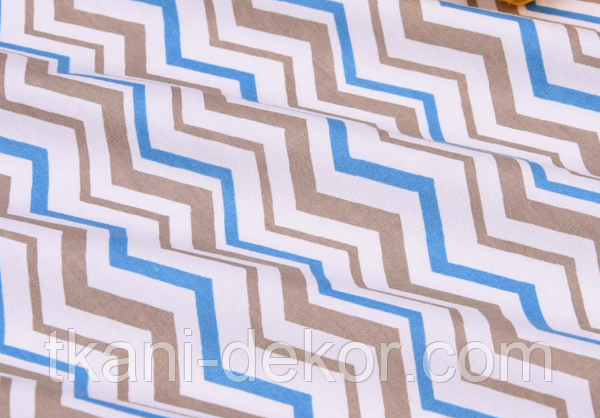 Сатин (хлопковая ткань) зигзаг серый и голубой (компаньон медведи индейцы)