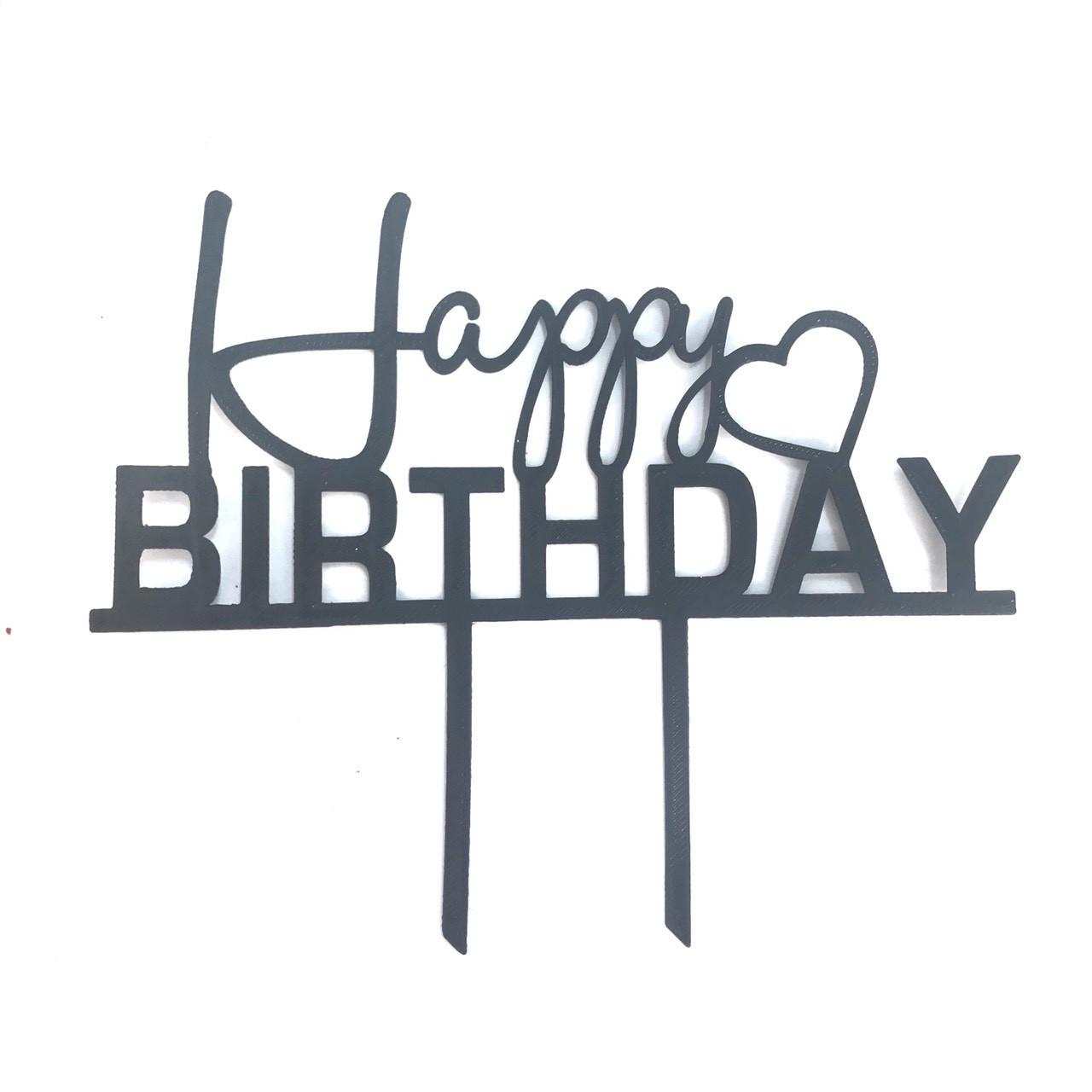 """Топпер """"Happy Birthday""""черный"""