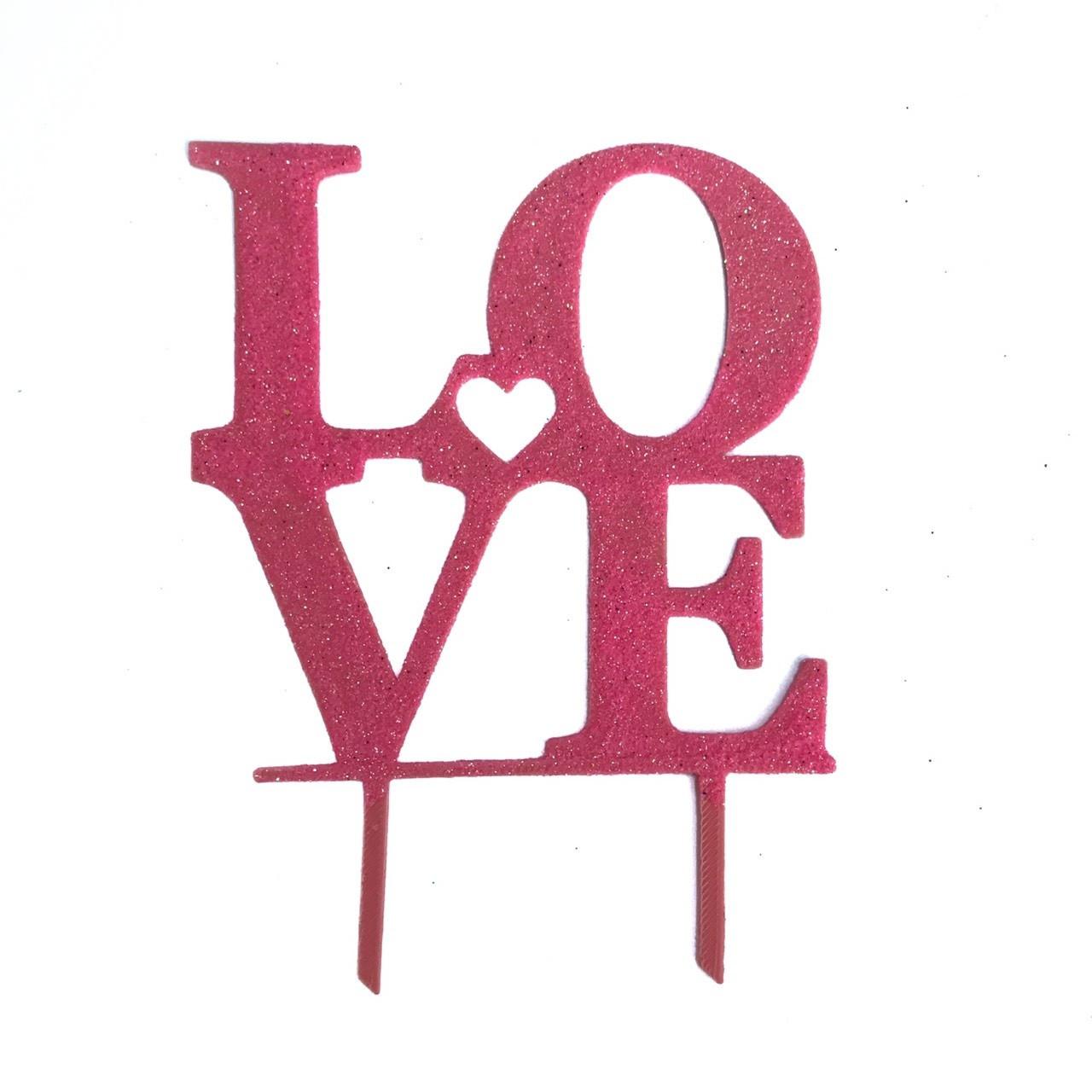 """Топпер """"Love"""" розовый с глиттером"""