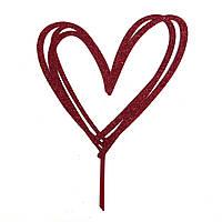 """Топпер """"Сердце"""" красный с глиттером"""