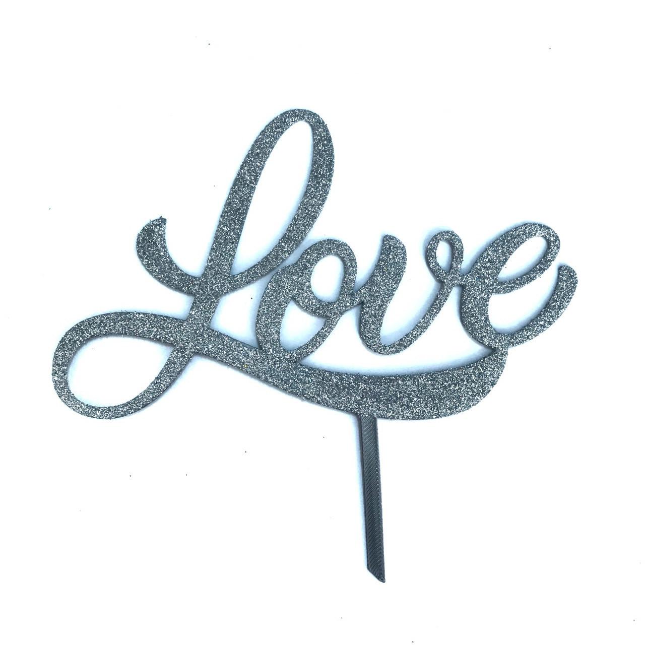 "Топпер ""Love"" серый с глиттером"