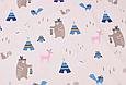 Сатин (хлопковая ткань) медведи индейцы и вигвамы голубые, фото 3
