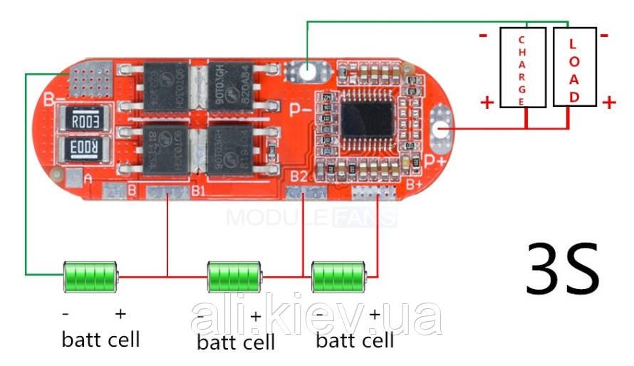 BMS 3S 15A контролер заряда для литиевых акб. BMS3S БМС, фото 1