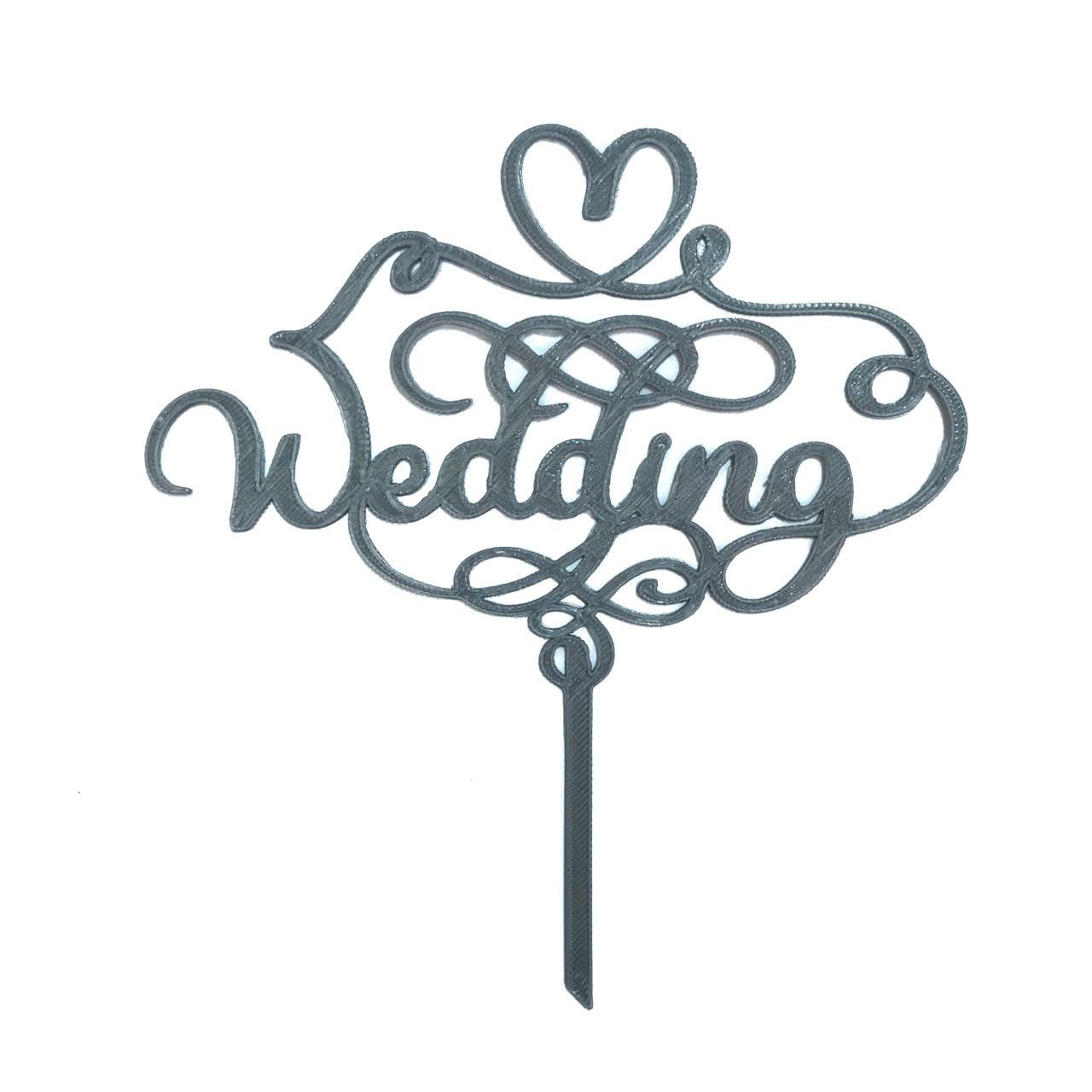 "Топпер ""Wedding"" серый"