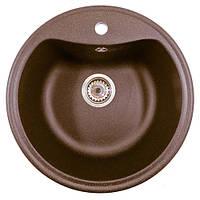 Гранитная кухонная мойка круглая цвет шоколад AVANTI 490