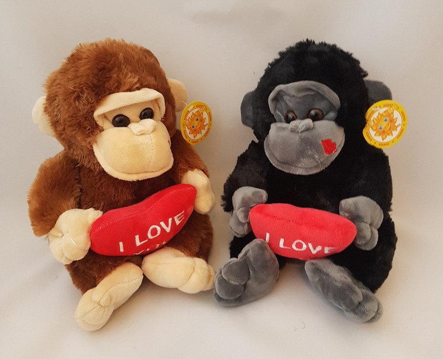 Мягкая игрушка Обезьяна с сердцем love 25 см