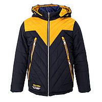 Куртка-трансформер зимняя-демисезонная для мальчика Кленовый лист 140,146,152,158см сьемний жилет ЖЕЛТАЯ
