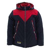 Куртка-трансформер зимняя-демисезонная для мальчика Кленовый лист 140,146,152,158см сьемний жилет КРАСНАЯ