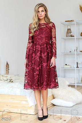 Праздничное платье с декором пышная юбка цвет марсала, фото 2