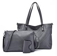 Серый женский набор сумок 3в1 из экокожи опт, фото 1