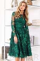 Вечернее платье прозрачная кокетка цвет изумрудный