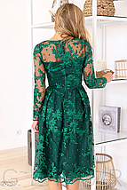 Вечернее платье прозрачная кокетка цвет изумрудный, фото 3