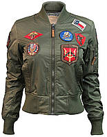 Женский бомбер Miss Top Gun MA-1 jacket with patches TGJ1573P (Olive), фото 1