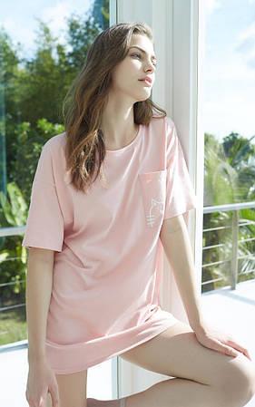 Туніка (сукня-футболка) жіноча літнє, домашня з котом, розмір M (рожева)