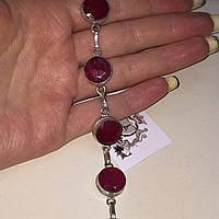 Рубин браслет с натуральным рубином в серебре Индия, фото 1