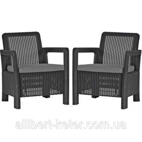 Набор садовой мебели Tarifa 2 X Chairs Graphite ( графит ) из искусственного ротанга