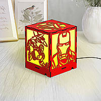 Лампа Железный человек Мстители Marvel Фонарь с супергерое Светильник для парня Декор из дерева Лед лампа