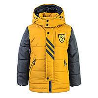Куртка зимняя-демисезонная для мальчика Жокей 116,122,128,134,140см сьемная овчина ЖЕЛТАЯ