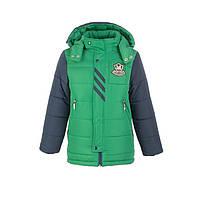 Куртка зимняя-демисезонная для мальчика Жокей 116,122,128,134,140см сьемная овчина ЗЕЛЕНАЯ