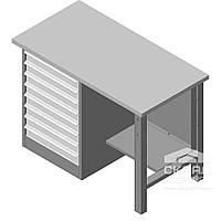 Металлический верстак для мастерской однотумбовый Stw 325/1500-8M (850(h)х1500х600 мм)