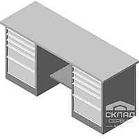 Металлический верстак для мастерской двухтумбовый Stw 326-3MSB/3MSB (850(h)х1800х600 мм)