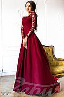Вечернее платье из струящейся ткани прозрачная гипюровая кокетка и рукав цвет марсала