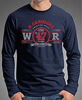 """0067 NY Мужская футболка-лонгслив """"Вранглер"""" (Испания). Темно-синяя."""