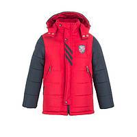 Куртка зимняя-демисезонная для мальчика Жокей 116,122,128,134,140см сьемная овчина КРАСНАЯ