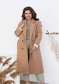 Пальто прямого силуэта  кашемировое Большие Размеры 48-50, 52-54, 56-58