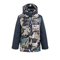 Куртка зимняя-демисезонная для мальчика Жокей 116,122,128,134,140см сьемная овчина КАМУФЛЯЖ