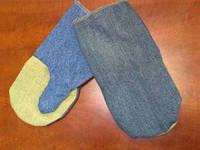 Рукавицы х/б (джинс) с брезентовым наладонником