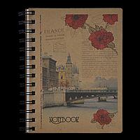 Записна книжка на пружині KRAFT, В6, 96 аркушів, клітинка, фото 1