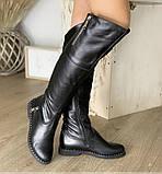 Высокие ботфорты с длинным манжетом 1060М-черная кожа, фото 2