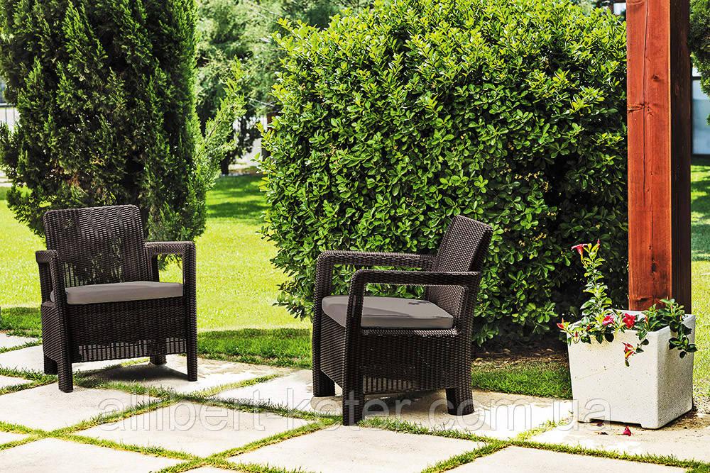 Набор садовой мебели Tarifa 2 X Chairs Brown ( коричневый ) из искусственного ротанга