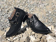 Мужские зимние ботинки кожа мех казаки 0045БМ
