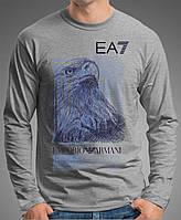 """0007 LS GM Мужская футболка-лонгслив """"АРМАНИ"""" (Испания).Темно-серая, меланж."""