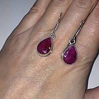Рубин, серьги с рубином. Красивые серьги капли с камнем рубин в серебре Индия, фото 1