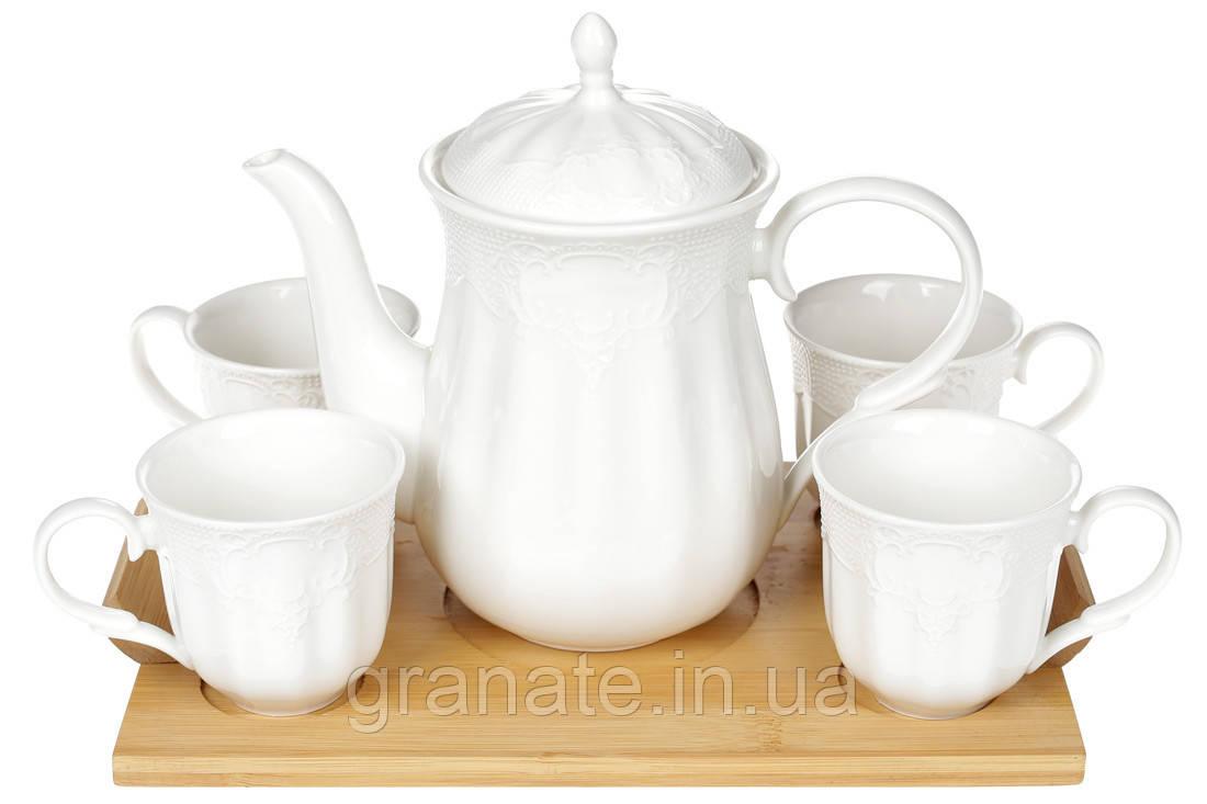 Чайный набор на бамбуковой подставке 900мл, цвет - белый