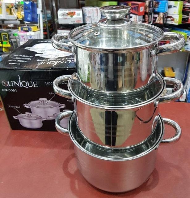 Набор посуды (кастрюль) из 3 предметов Unique UN-5031 кастрюли с крышками, нержавеющая сталь