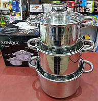 Набір посуду (кастрюль) з 3 предметів Unique UN-5031 каструлі з кришками, нержавіюча сталь, фото 1